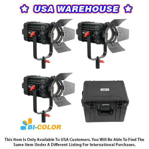 3 Pcs CAME-TV Boltzen 100w Fresnel Focusable LED Bi-Color Kit - USA Warehouse