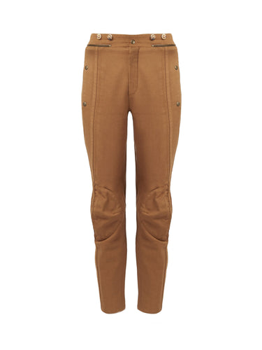 Chloé Washed Denim Ankle Length Pants Brown