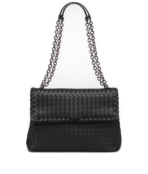 Bottega Veneta Medium Intrecciato Nappa Olimpia Bag Black