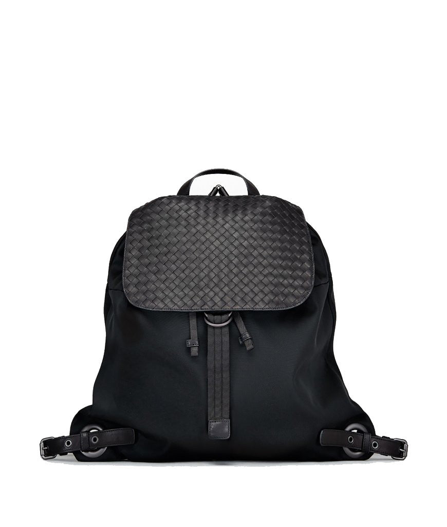 Bottega Veneta Backpack in Technical Canvas & Intrecciato Calf Black