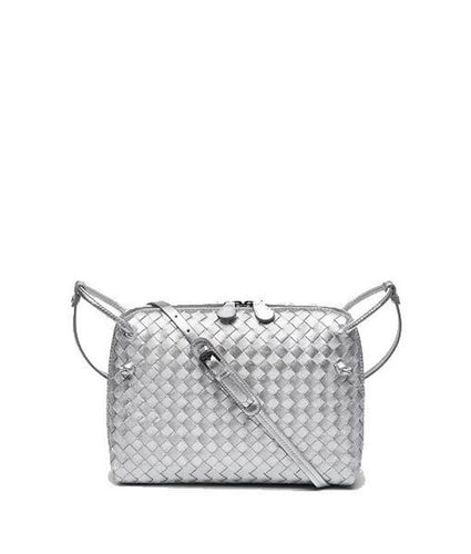 Bottega Veneta Intrecciato Uros Messenger Bag Grain Silver