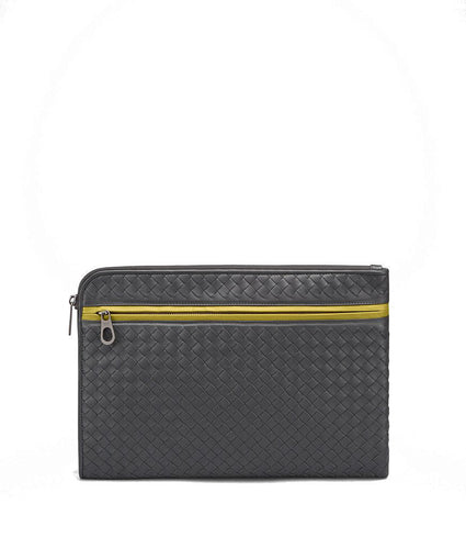 Bottega Veneta Ardoise Intrecciato Nappa Document Case Ancient Gold