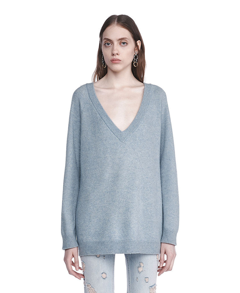 T by Alexander Wang Deep V Neck Sweater Chambray