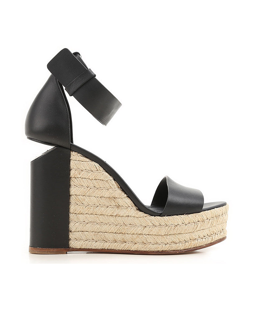 Alexander Wang Leather Wedge Aurora Sandals Black