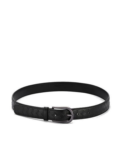 Bottega Veneta Belt in Nero Intrecciato Calf