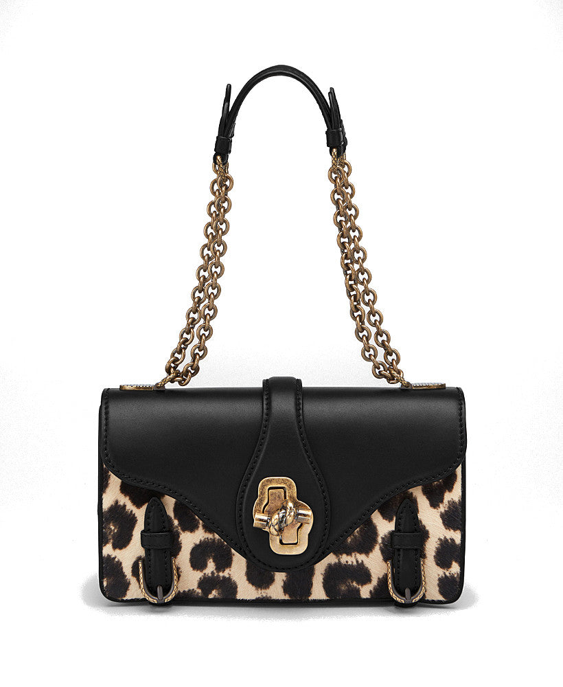 Bottega Veneta City Knot Leopard-Print Calf Hair Shoulder Bag Nero