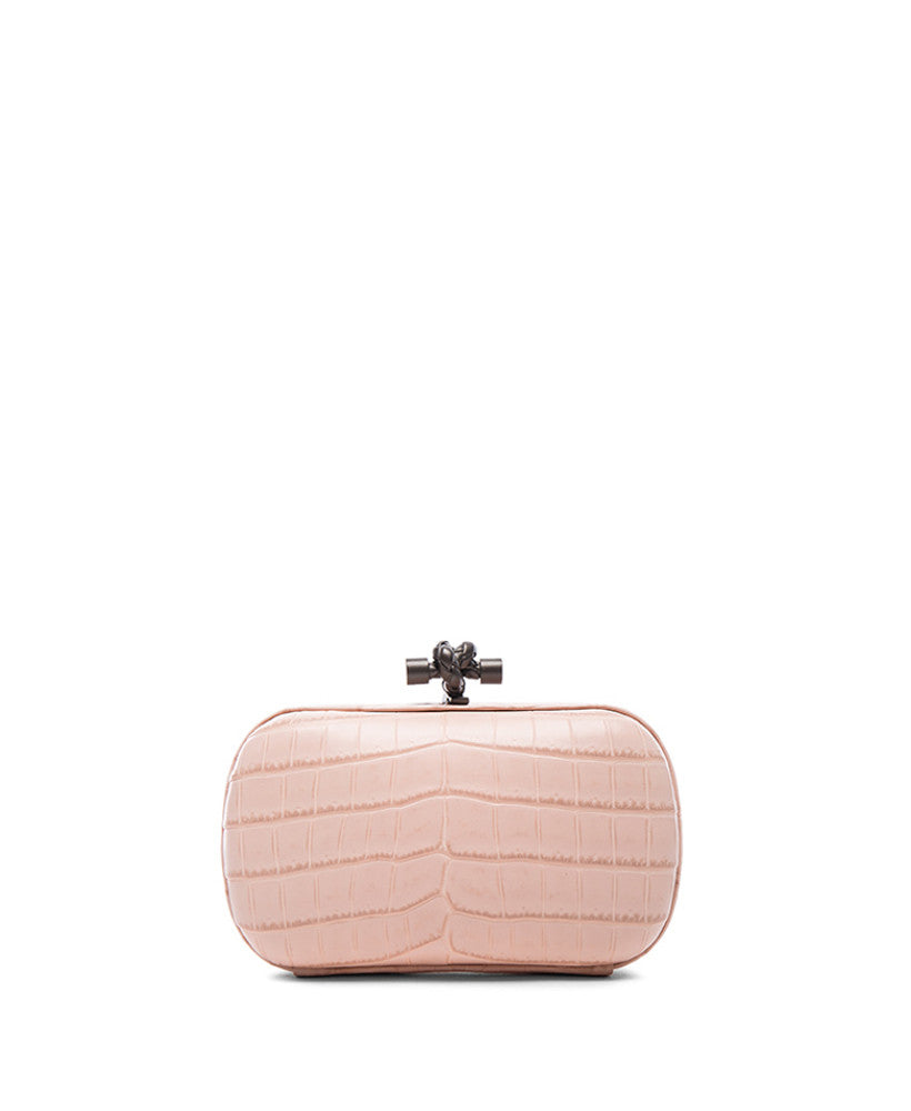 Bottega Veneta Soft Crocodile Clutch Light Pink