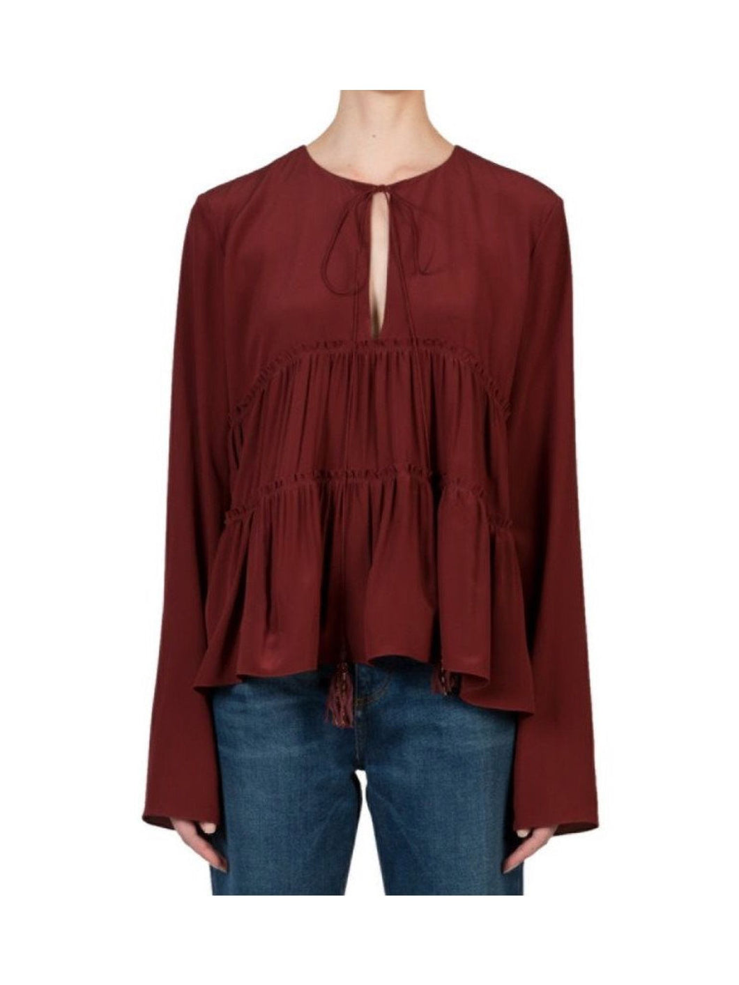 Chloé Long Sleeve Silk Top Dark Red