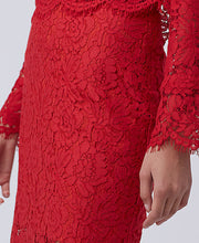 DVF Glimmer Lace Pencil Skirt Scandal Red