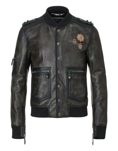 Philipp Plein Insidious Leather Jacket Black Deep Blue Sea