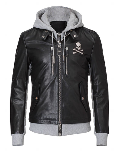 Philipp Plein Beaver Creek Leather Jacket Black