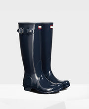 Hunter Original Tall Wellington Boots Navy Gloss