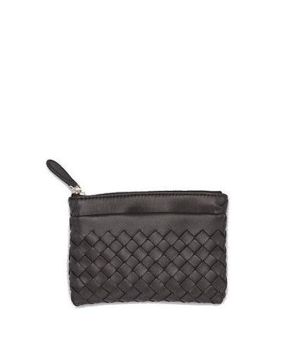 Bottega Veneta Key Case in Intrecciato Nappa Black