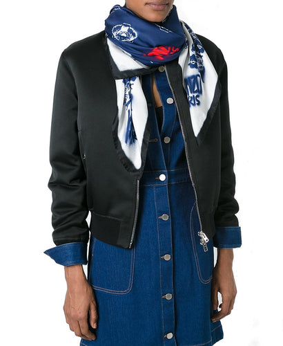 Kenzo Spray Effect Multi Logo Scarf Blue & White