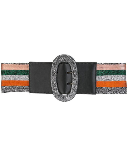Missoni Stripe Belt Metallic Buckle