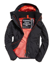 Superdry Tech Hood Pop Zip Windcheater Black Vermillion