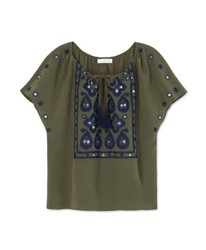 Tory Burch Camille Top Dark Green Olive
