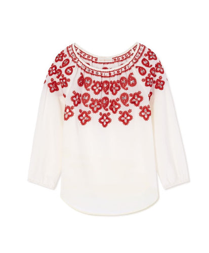 Tory Burch Jessie Tunic Top New Ivory & Red Canyon