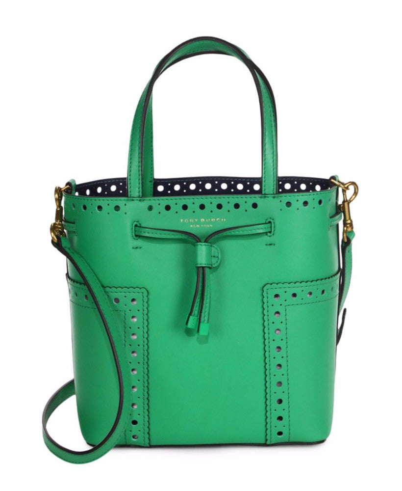 592b99f0483 Tory Burch Block-T Brogue Micro Drawstring Cross-Body Bag Court Green –  Maison Lorenz Bach