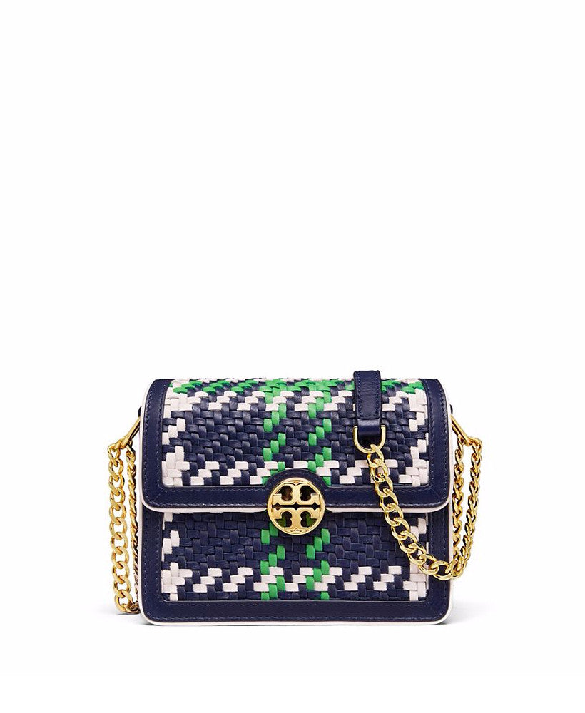 Tory Burch Duet Chain Woven Micro Cross-Body Royal Navy