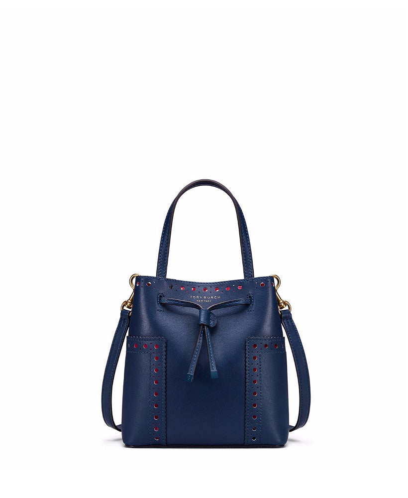 Tory Burch Block-T Brogue Micro Drawstring Cross-Body Royal Navy