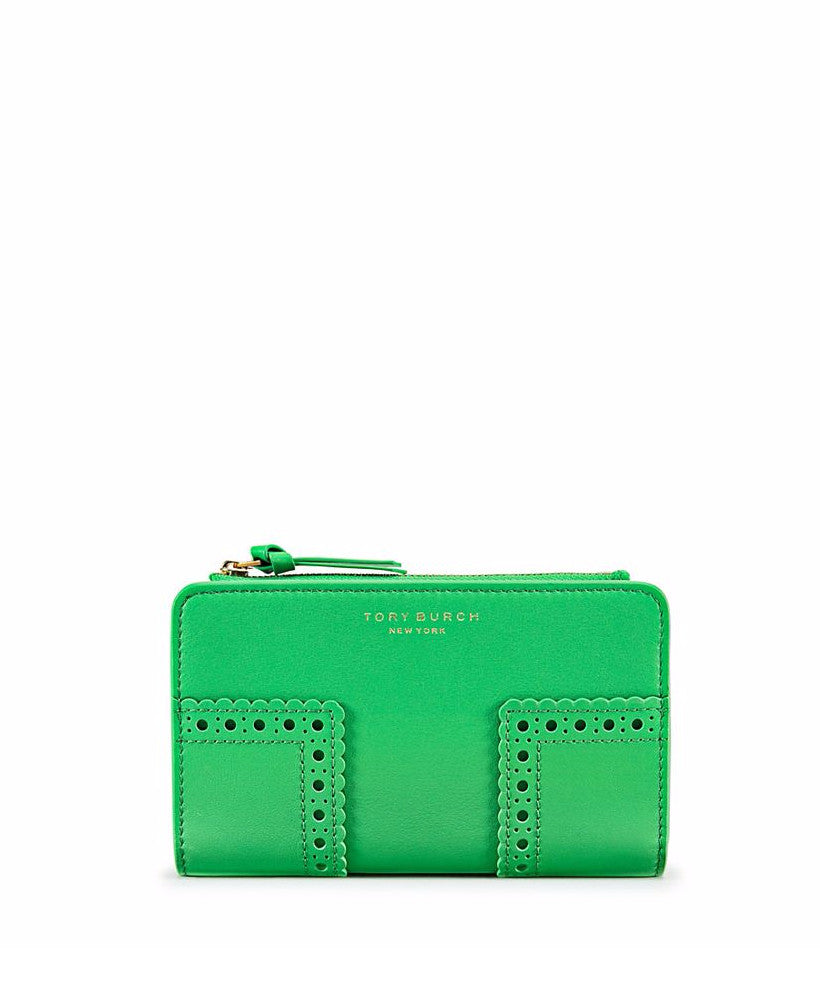 Tory Burch Block-T Brogue Smartphone Wallet Court Green