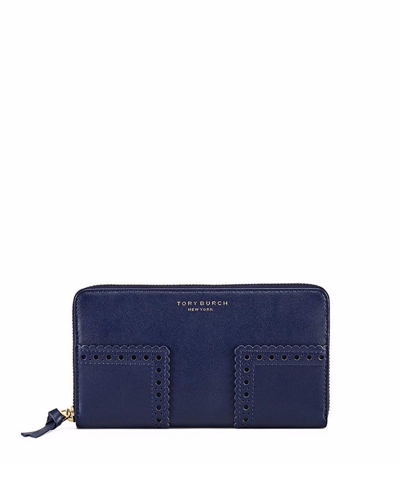 Tory Burch Block-T Brogue Zip Continental Wallet Royal Navy