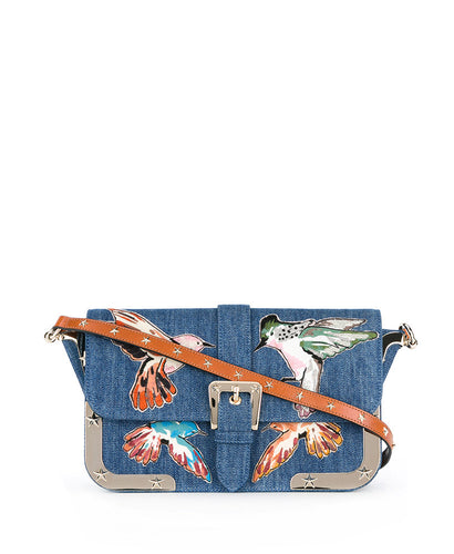 Red Valentino Embroidered Birds Shoulder Bag Blue
