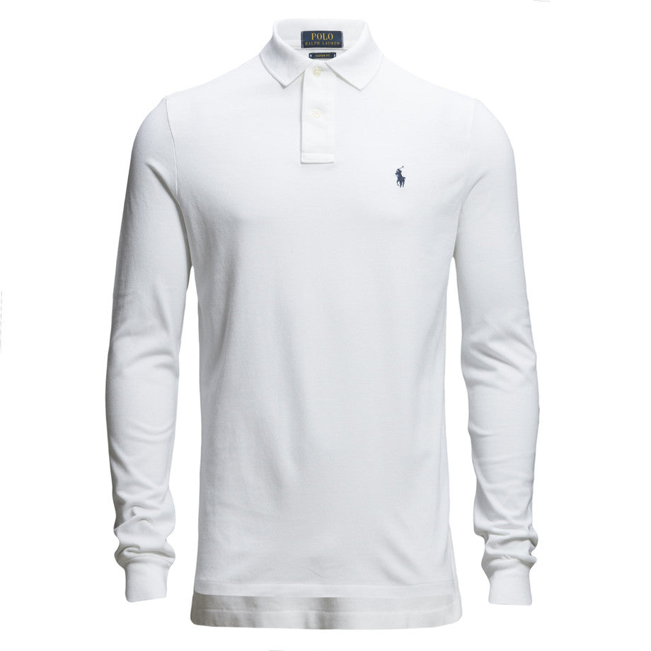 Polo Ralph Lauren Long Sleeve Comfort Fit Polo Shirt White Maison