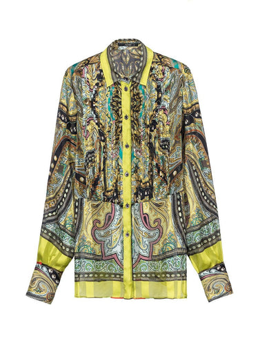 Etro Silk Shirt with Bib Multicoloured