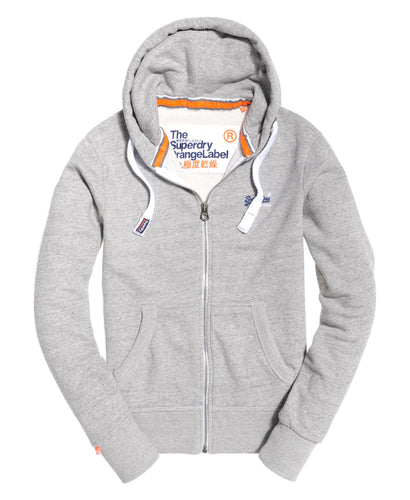 Superdry Orange Label Zip Through Hoodie Grey Marl