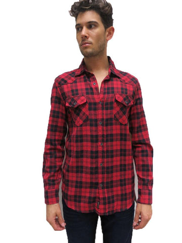 df309591b True Religion Casual Woven Check Shirt With Signature Flap Pocket - Red  Black Checks