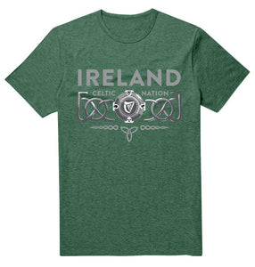 IRELAND 3D CELTIC PROVINCES Mens T-Shirts Cara Craft S BOTTLE GREEN