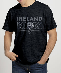 IRELAND 3D CELTIC PROVINCES Mens T-Shirts Cara Craft S BLACK