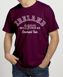 IRELAND EMERALD ISLE Mens T-Shirts Cara Craft S BURGUNDY