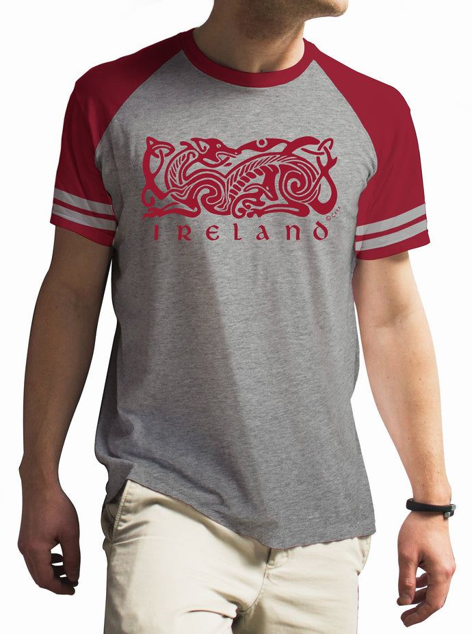 IRELAND CELTIC DOG V2 Mens T-Shirts Cara Craft S BURGUNDY