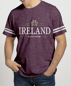 IRELAND CELTIC SHAMROCK Mens T-Shirts Cara Craft S BURGUNDY