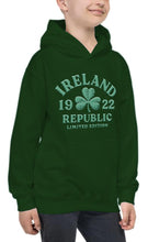 Load image into Gallery viewer, EMBOSSED SHAMROCK Children Classic Hoodie Cara Craft 7-8 BOTTLE GREEN
