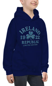 EMBOSSED SHAMROCK Children Classic Hoodie Cara Craft 7-8 NAVY