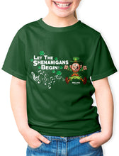 Load image into Gallery viewer, LET THE SHENANIGANS BEGIN Children Classic T-Shirt Cara Craft BOTTLE GREEN 2-3