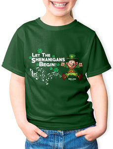 LET THE SHENANIGANS BEGIN Children Classic T-Shirt Cara Craft BOTTLE GREEN 2-3