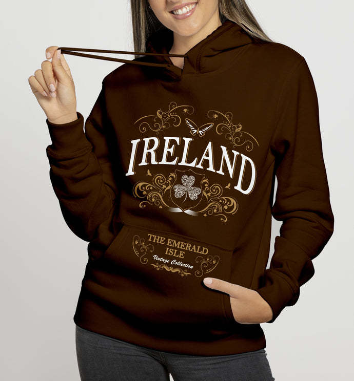IRELAND ORNATE BUTTERFLY LADIES HOODIES Cara Craft S CHOCOLATE