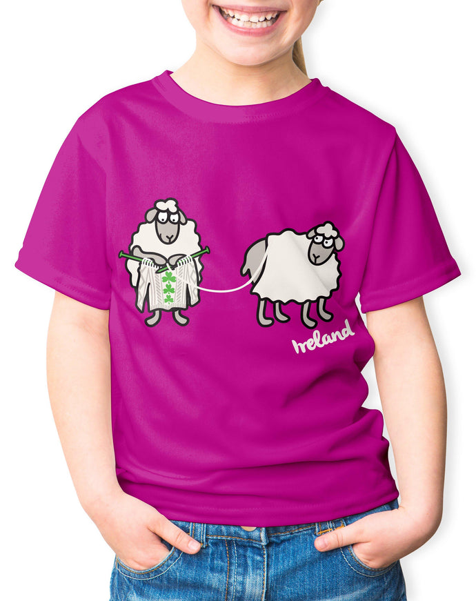 SHEEP KNITTING Children Classic T-Shirt Cara Craft 3-4 Fuchsia