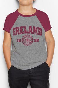IRELAND APPAREL 88 Children Classic T-Shirt Cara Craft BURGUNDY 3-4