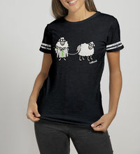 Load image into Gallery viewer, SHEEP KNITTING Ladies T-Shirts Cara Craft S BLACK