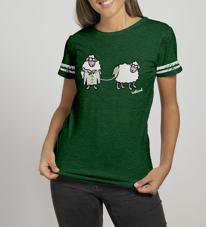SHEEP KNITTING Ladies T-Shirts Cara Craft S BOTTLE GREEN