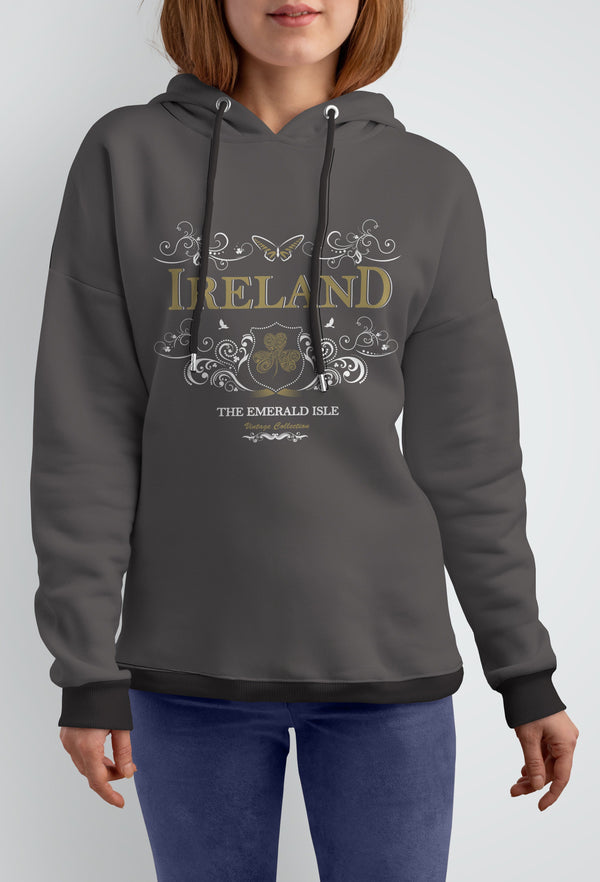 IRELAND ORNATE BUTTERFLY LADIES HOODIES Cara Craft S CHARCOAL