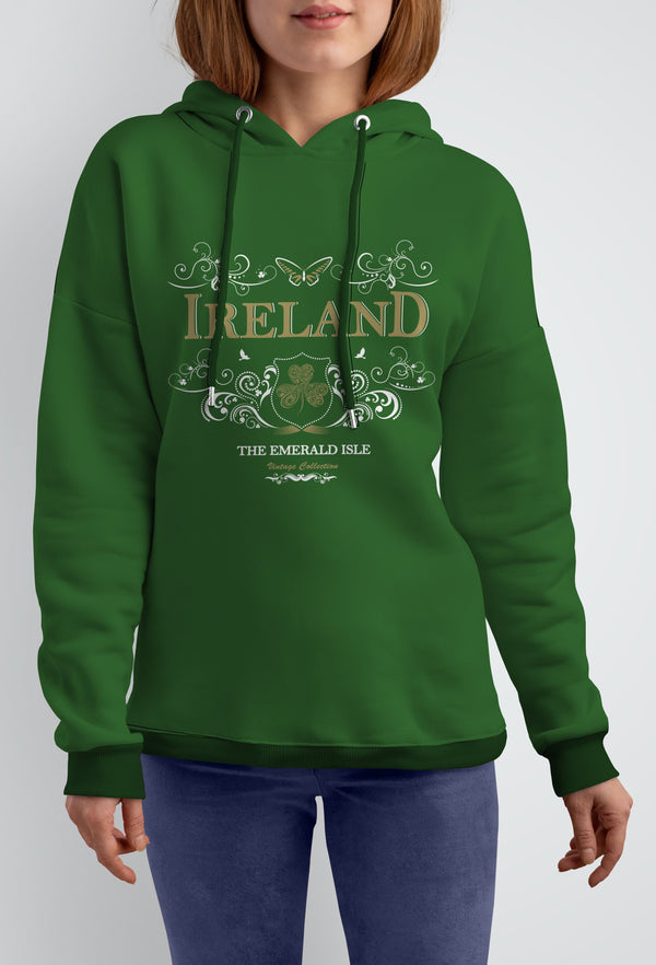 IRELAND ORNATE BUTTERFLY LADIES HOODIES Cara Craft S GREEN