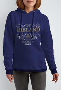 IRELAND ORNATE BUTTERFLY LADIES HOODIES Cara Craft S NAVY BLUE