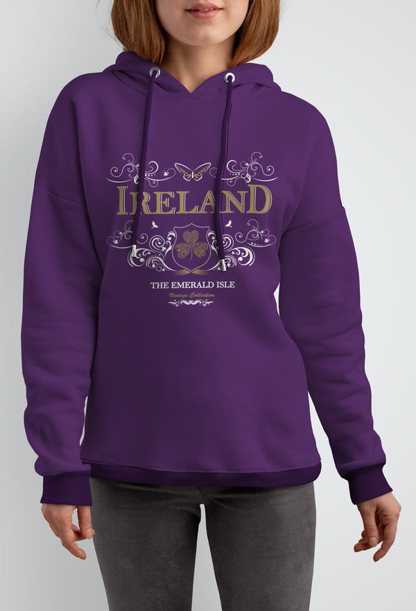 IRELAND ORNATE BUTTERFLY LADIES HOODIES Cara Craft S PLUM